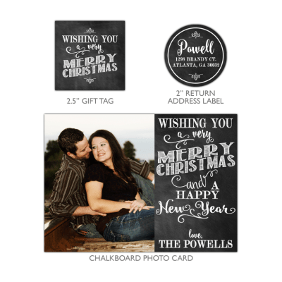 Chalkboard Merry Christmas Photo Card Bundle