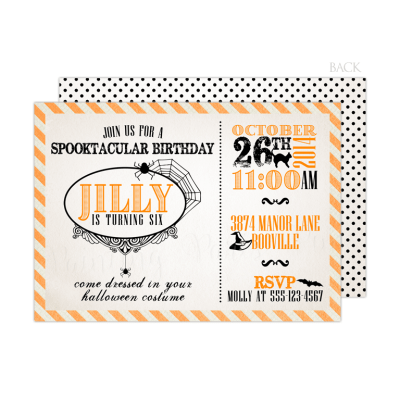 Spooktacular Birthday Invitation Back Design