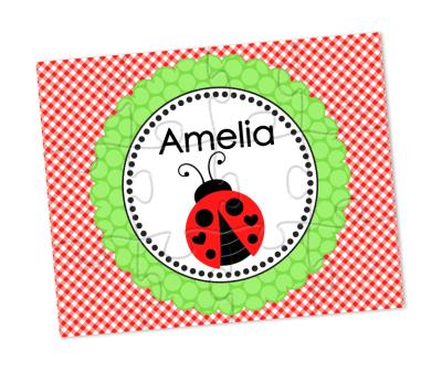 personalized gingham ladybug puzzle