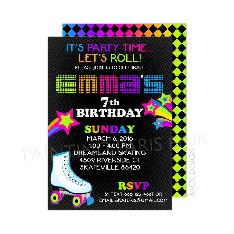 Neon Roller Skating Birthday Party Invitation – Roller Skating Birthday Party Invitations