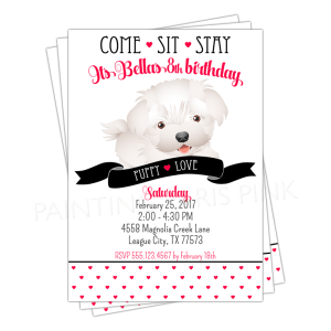 Puppy Party Invitation with white dog, black puppy love banner and dainty red hearts. Come, sit, stay