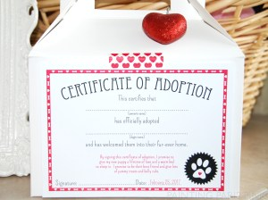 Certificate of Adoption printable for puppy love party