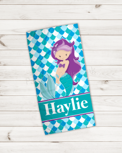 Purple Hair Mermaid Velour Beach Towel