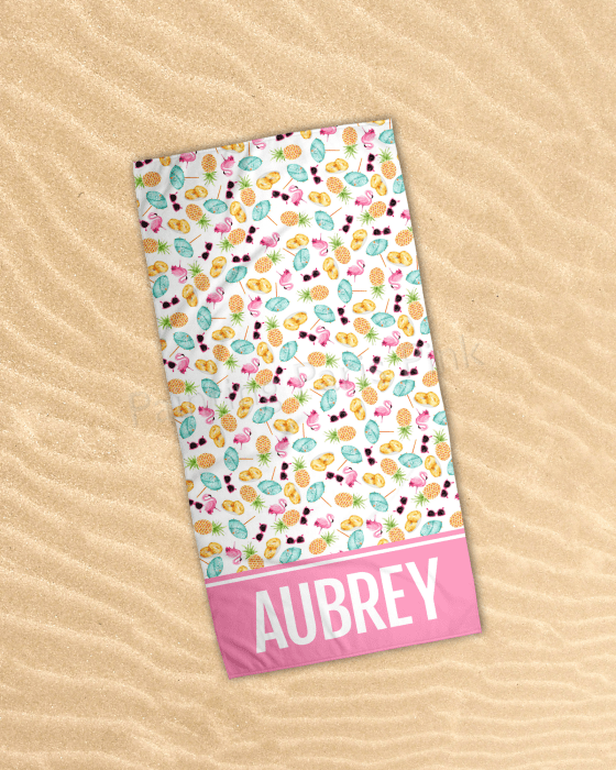 Pineapples & Flamingos Beach Towel