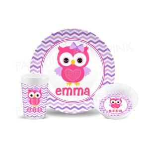 Owl Chevron Melamine Dinnerware Set
