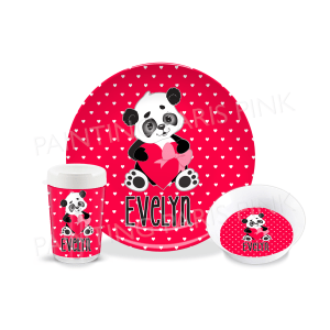 Valentine Panda Melamine Dinnerware Set