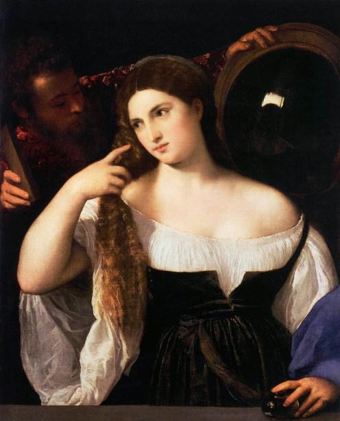 Тициан. Картина Женщина перед зеркалом