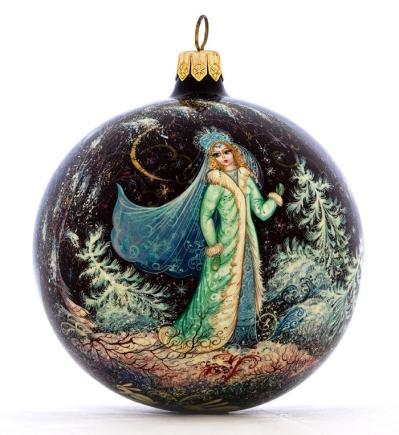Холуйская роспись, елочный шар