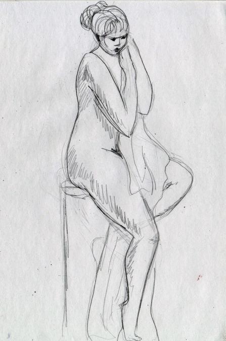 Эскиз, обнаженка, карандаш