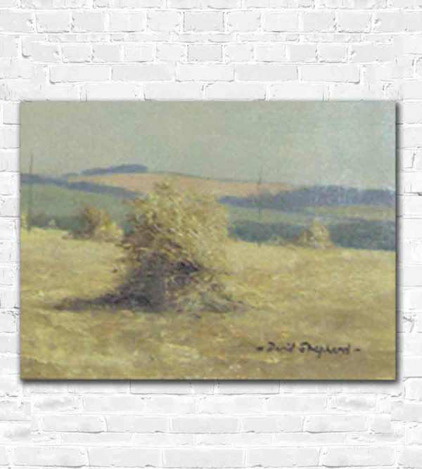 The haystacks and the signature of David Shepherd in his Battle of Britain oil painting