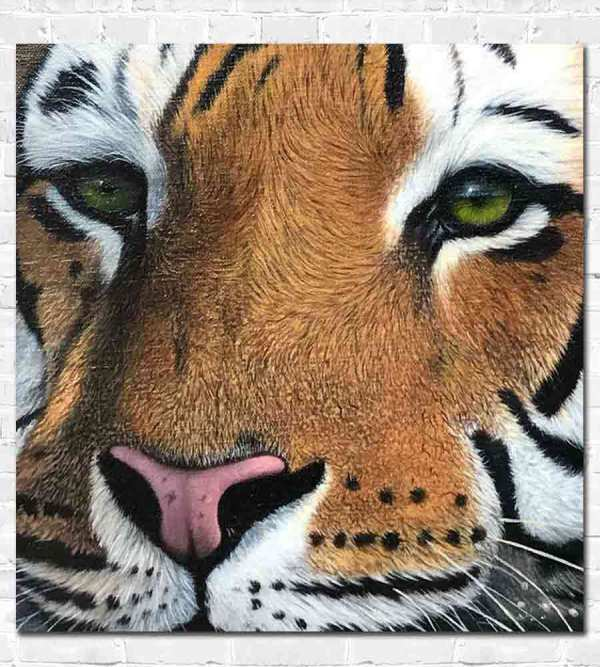 Detailed oil painting of a tiger