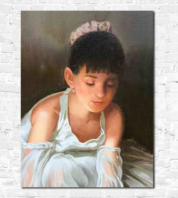 Russian oil painting of a young Ballerina by Yuri Lyamin