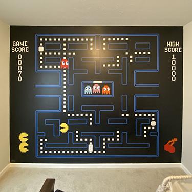 pacman video game mural