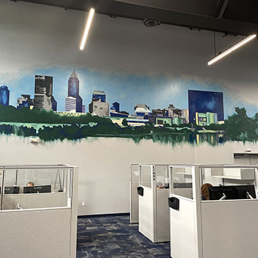 Modern Indianapolis Cityscape Office Mural