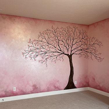 Metallic Pink Watercolor Cherry Blossom Mural