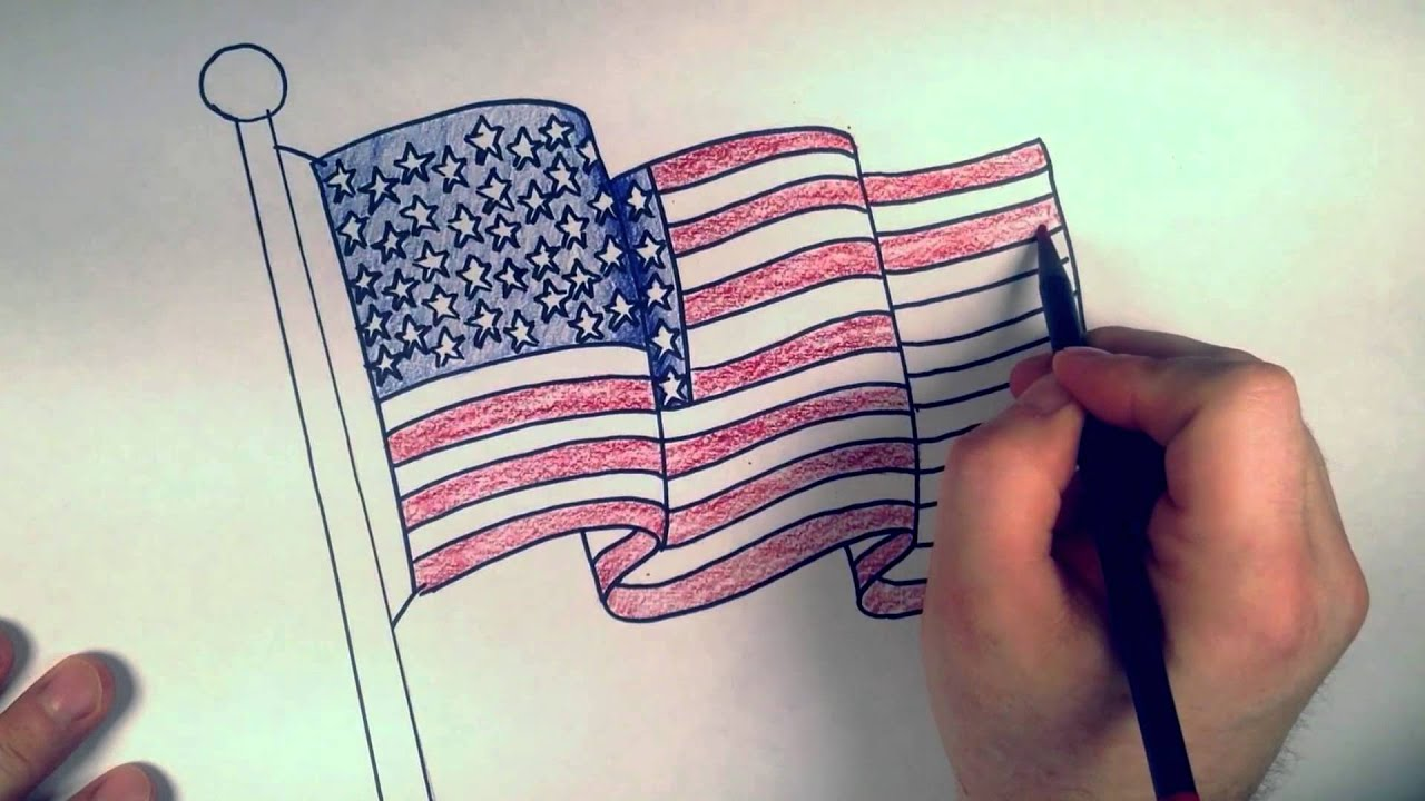 american flag drawing at