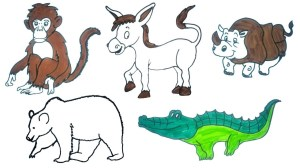animals animal drawing step children easy drawings draw paintingvalley