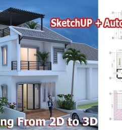 1280x720 house drawing from to using sketchup autocad step autocad house drawing [ 1280 x 720 Pixel ]