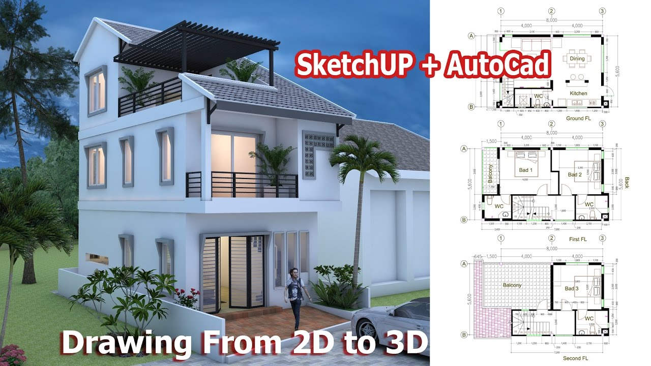 hight resolution of 1280x720 house drawing from to using sketchup autocad step autocad house drawing