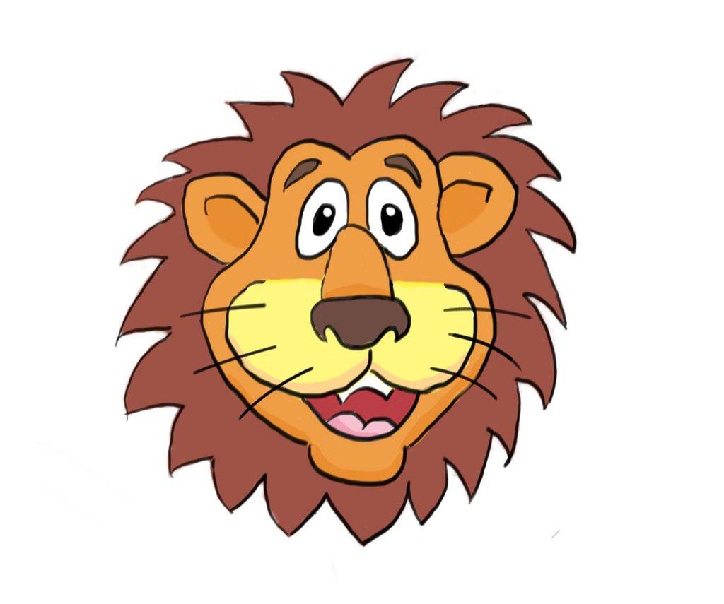 cartoon lion face drawing