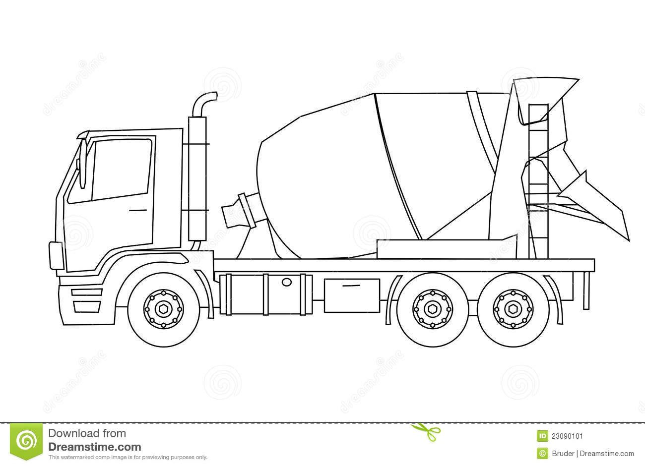 Cement Truck Drawing At Paintingvalley