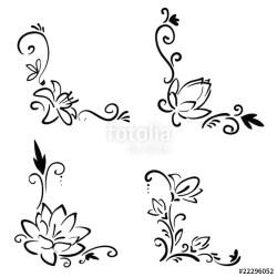 Simple Flower Corner Border Drawing Mundo Verde