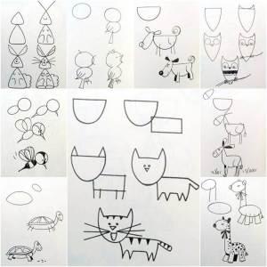 drawing easy draw creative shapes geometric figures animal drawings simple animals steps creativity icreativeideas step couple ways cartoon paintingvalley leerlo