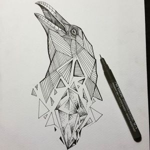 geometric shapes drawing shape tattoo crow creative sketch tattoos pencil animal drawings sketches draw result paintingvalley explore desenhos geometrique professional