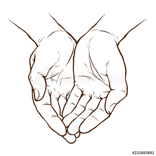 cupped hands drawing at