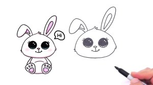 bunny drawing easy rabbit draw drawings nose paintingvalley