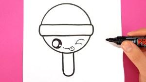 easy draw drawings drawing lollipop super kawaii cartoon beginners paintingvalley sketches step etape sketch dessiner dessins facile happy pilon par