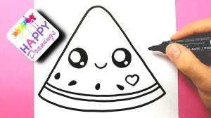 drawings draw easy drawing watermelon simple nice happy kawaii unicorn fruit cartoon paintingvalley