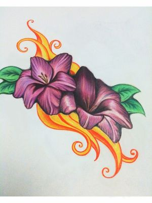 flowers drawings drawing colour pencil easy colored sketches sketch flower cool colorful coloured pencils painting paintings designs paintingvalley tattoo heart