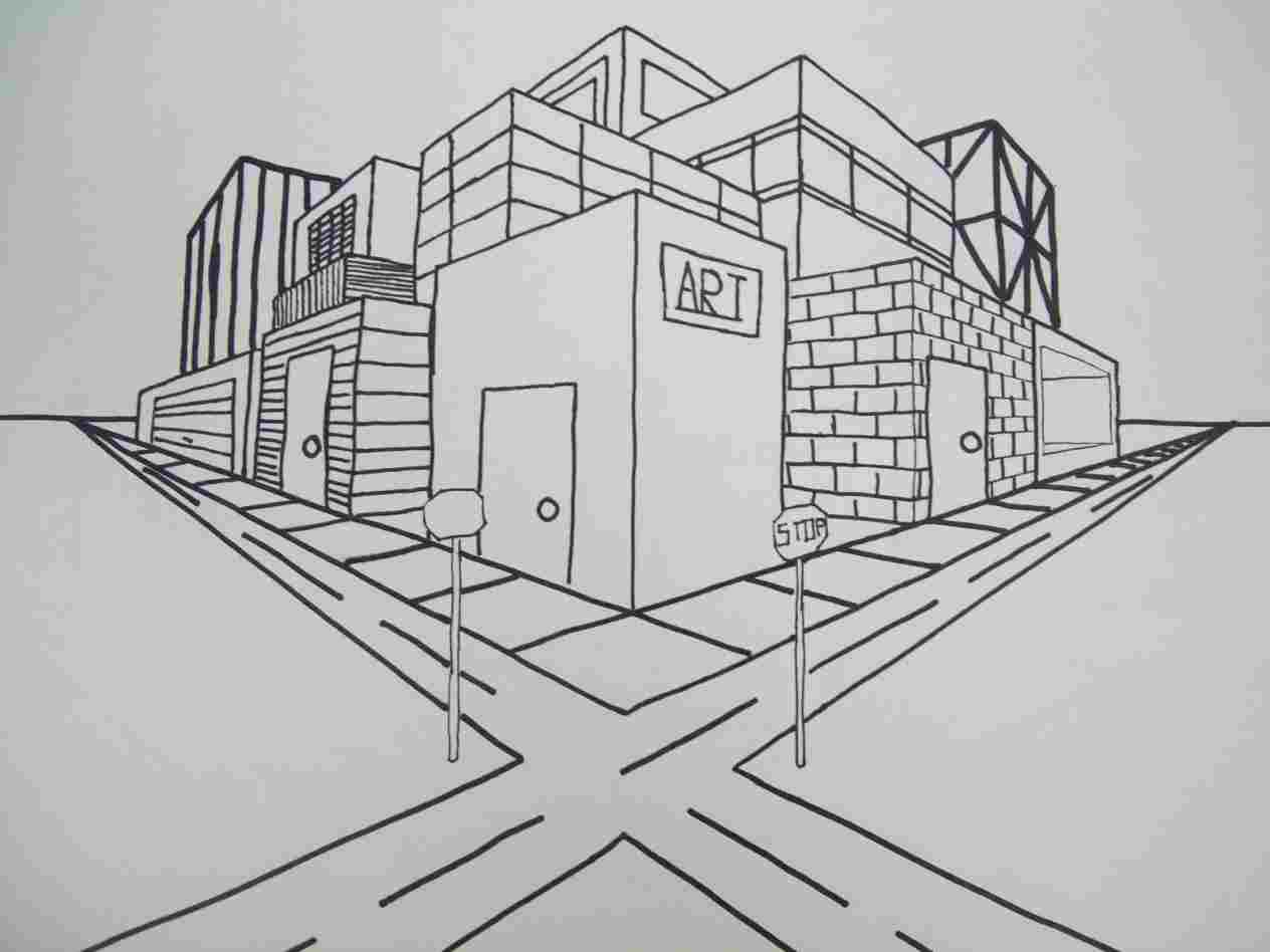 Easy 2 Point Perspective Drawing At Paintingvalley