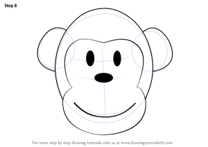 easy drawing draw animals monkey face cartoon step zoo animal faces drawings learn paintingvalley