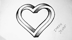 heart draw drawing hearts easy 3d sketch shape impossible drawings sketches paintingvalley hear