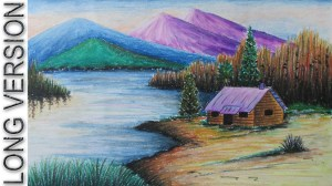 scenery landscape drawing oil easy nature pastel pastels mountain beginners drawings draw scene colour pencil village getdrawings paintings drawn colorful