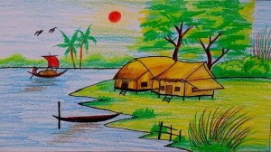scenery village drawing easy landscape beginners natural draw drawings step painting nature sketch landscapes tutorial paintingvalley sketching bd