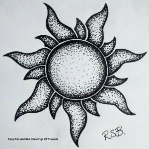 pen easy drawings ink pointillism flowers paintingvalley