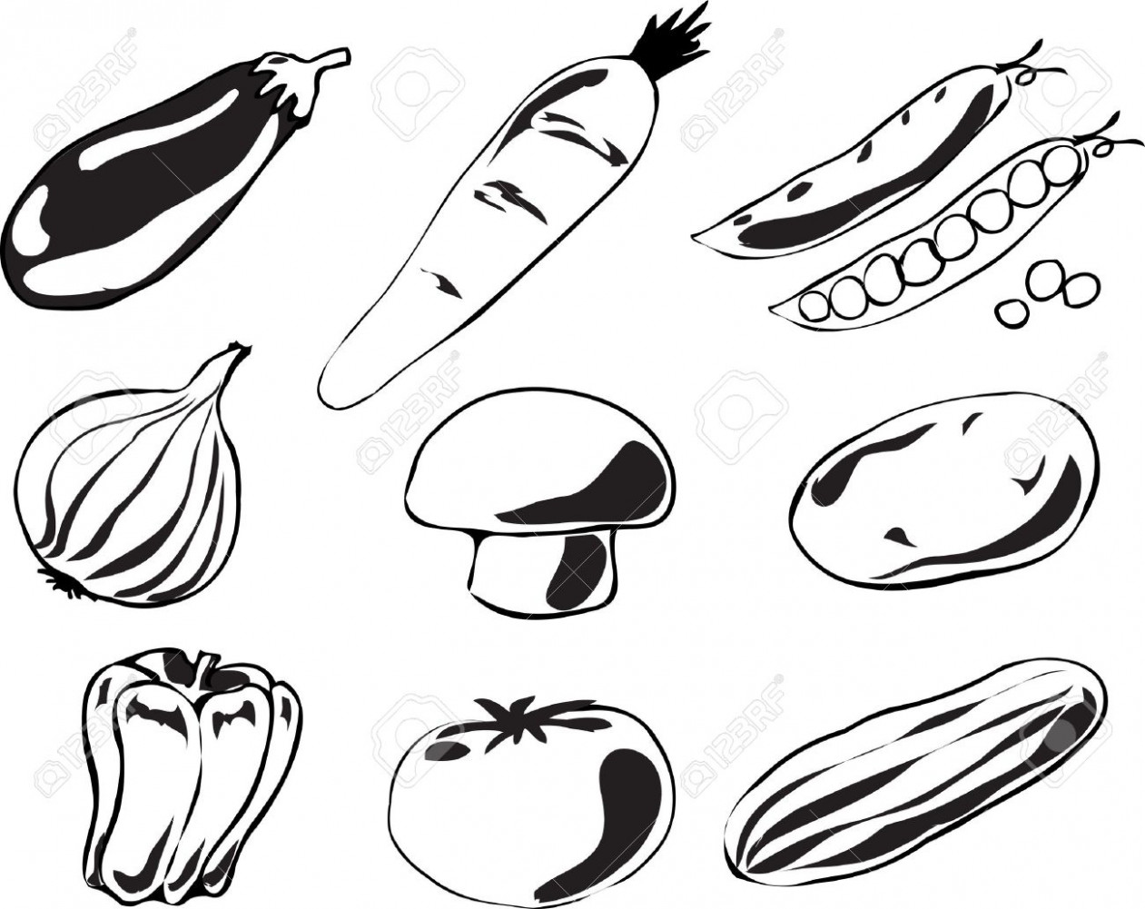 Fruits And Vegetables Drawing Black And White At