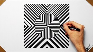 shapes drawing geometrical optical cool illusion draw drawings shape paintingvalley