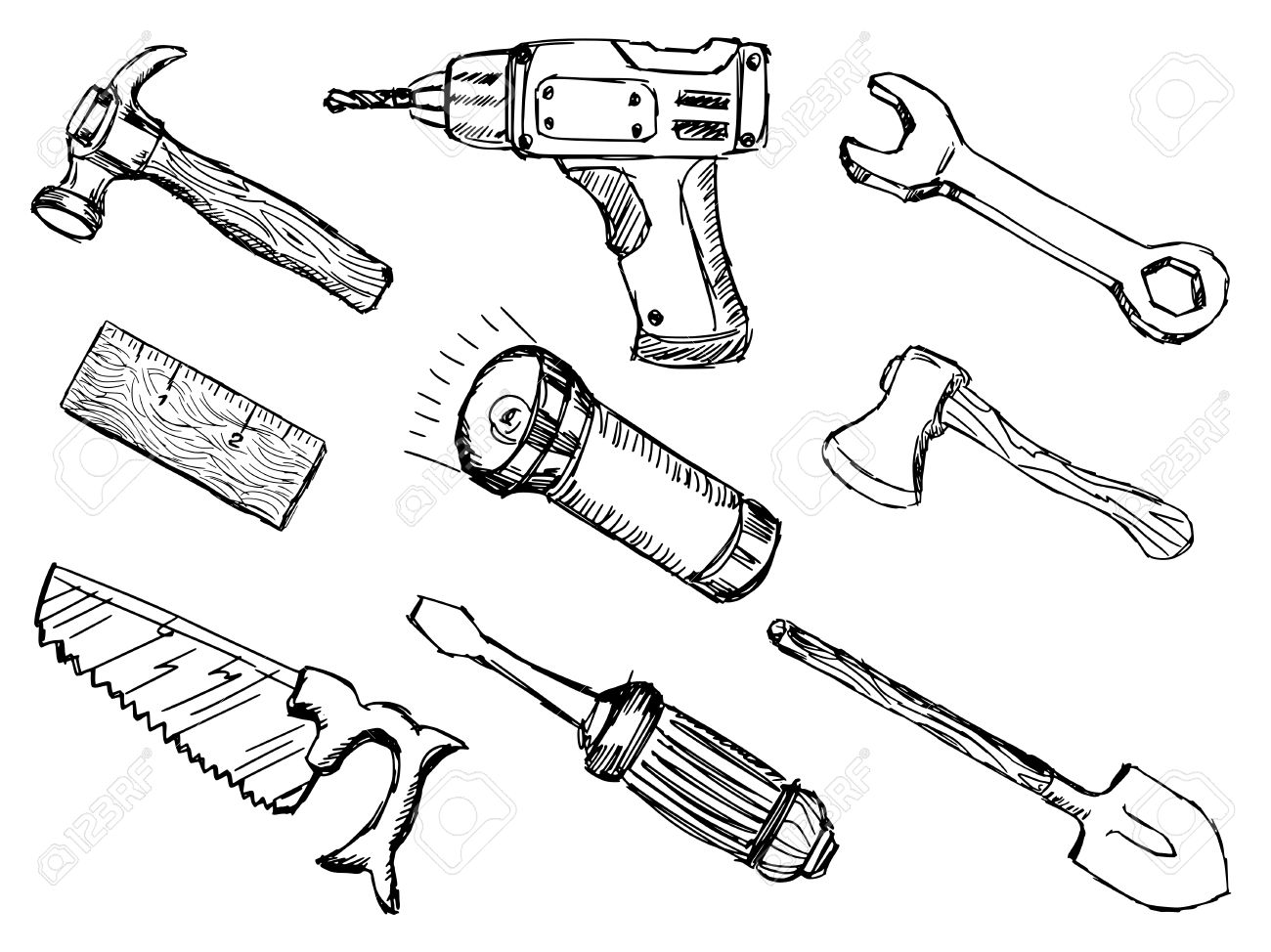 Hand Tools Sketch At Paintingvalley