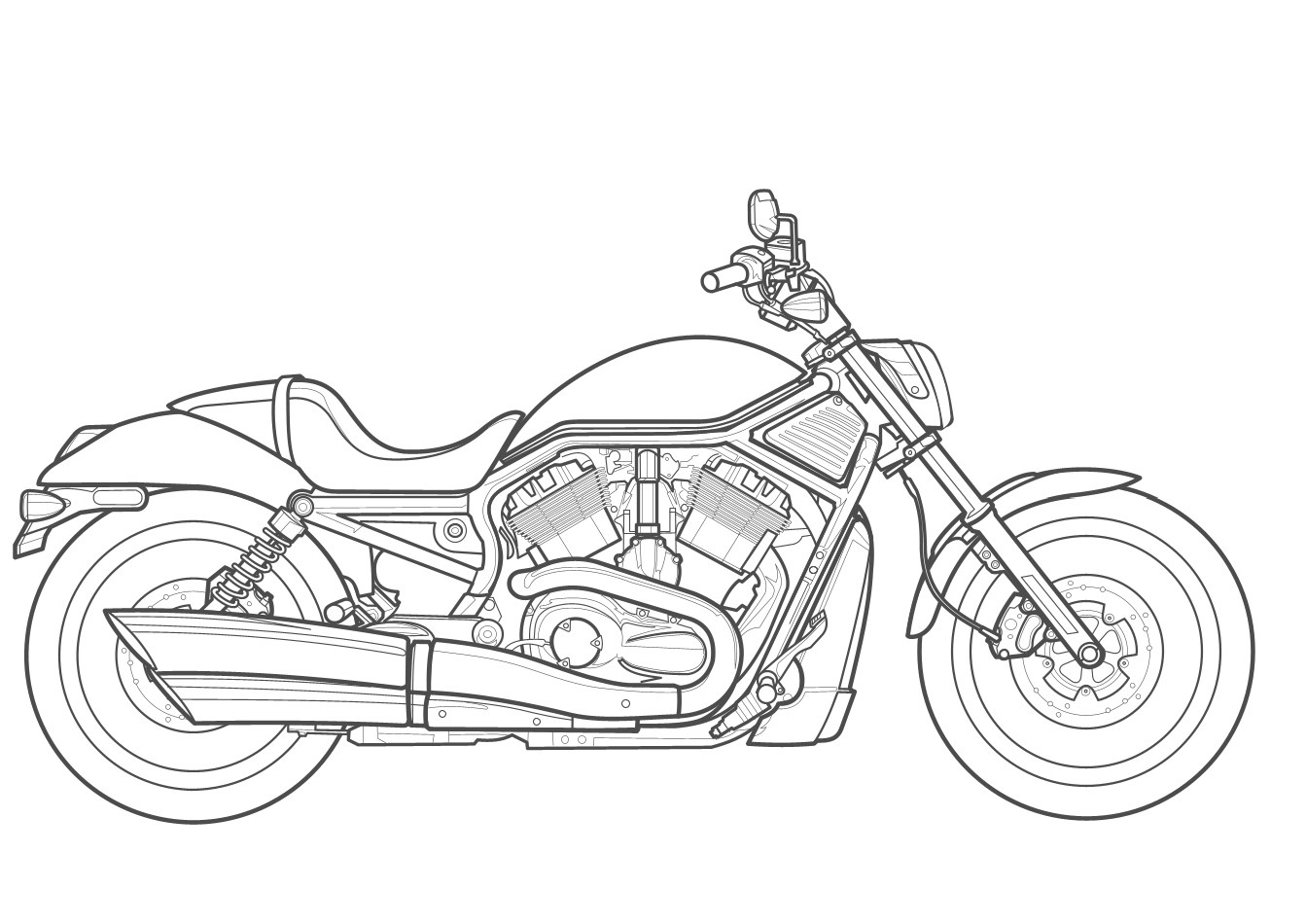 Harley Davidson Drawing Outline at PaintingValley.com