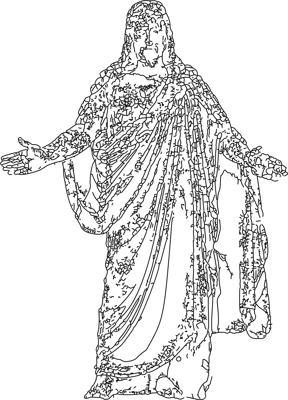 medium resolution of 1695x2352 drawing statue jesus transparent png clipart free download jesus line drawing