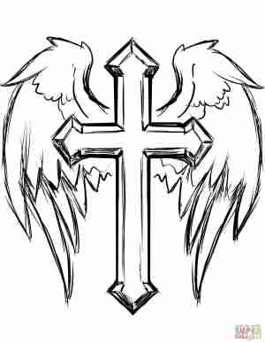 jesus cross easy drawing draw drawings christmas paintingvalley