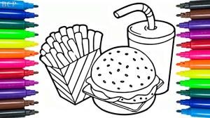 junk drawing draw coloring fast drawings cheeseburger paintingvalley