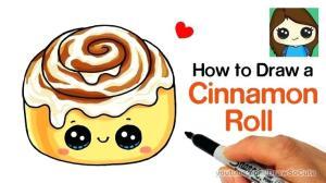 cinnamon roll kawaii draw drawings drawing easy cartoon step stuff sweet animals cream paintingvalley candy manga