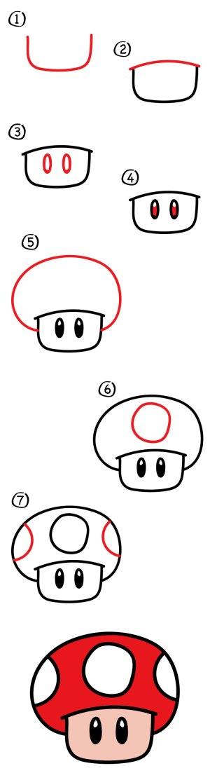 mushroom drawing mario easy draw drawings hub