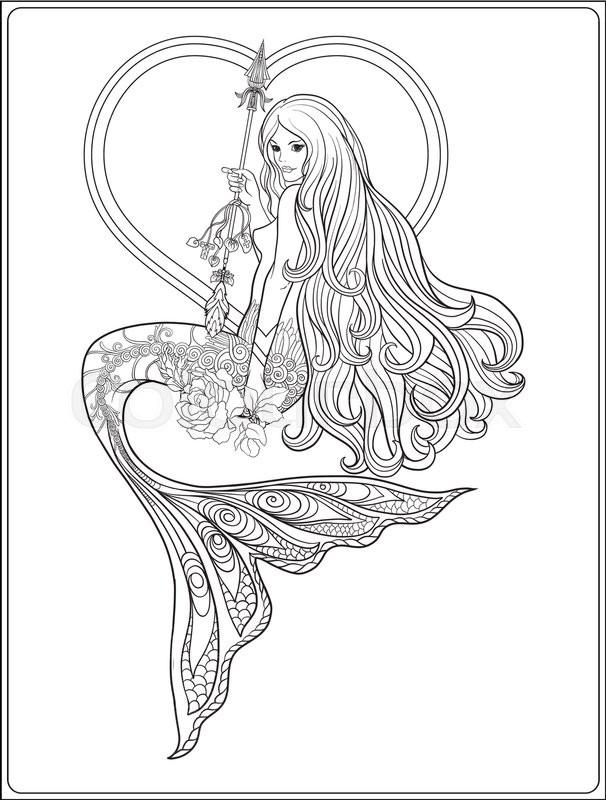 mermaid drawing outline at