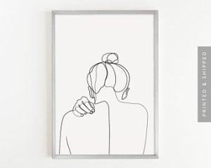 minimalist line drawings drawing sketch hand woman female draw single drawn paintingvalley items poster